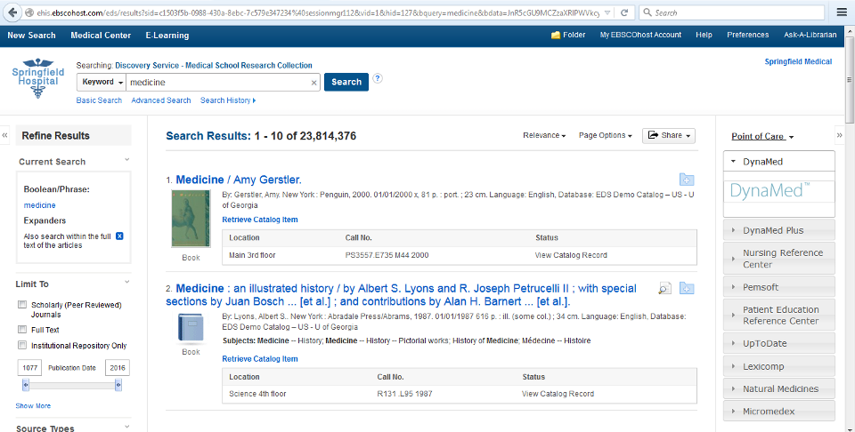 Link List (Accordion): Medical   EBSCO Apps & Cloud Services