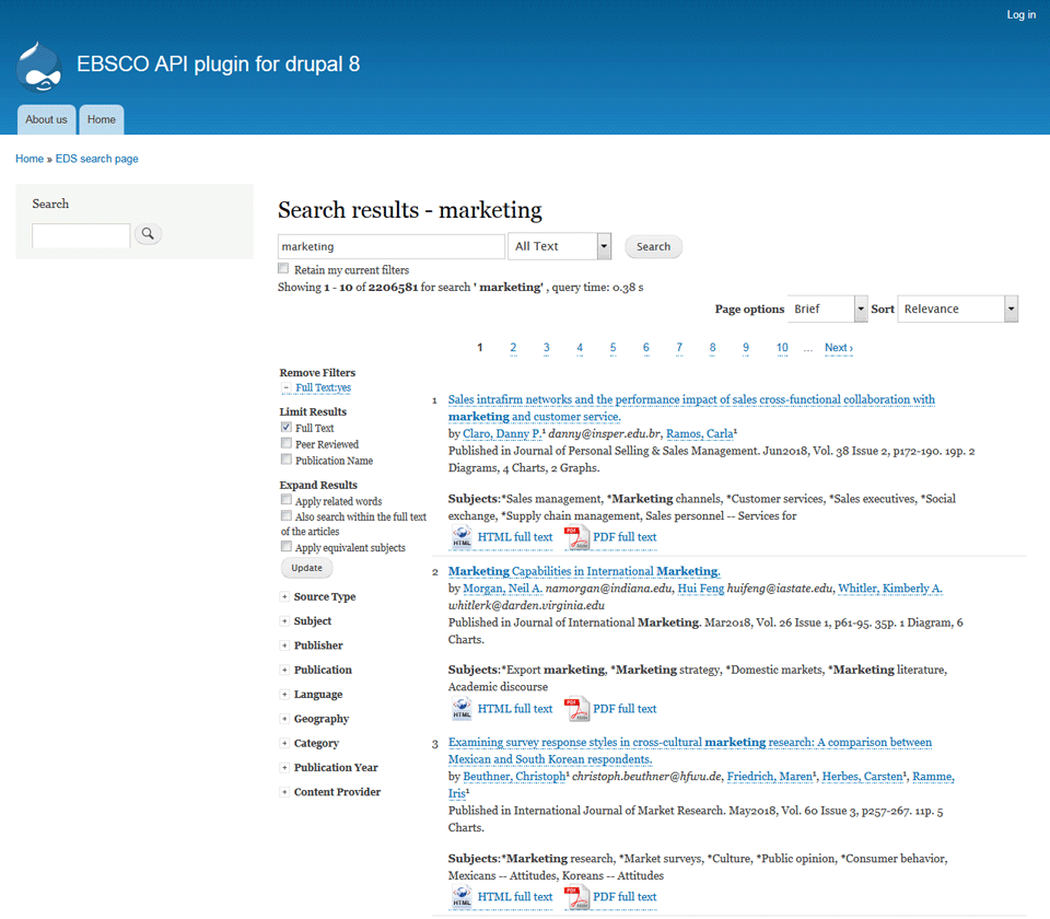 Get your EDS content with Drupal 8 | EBSCO Apps